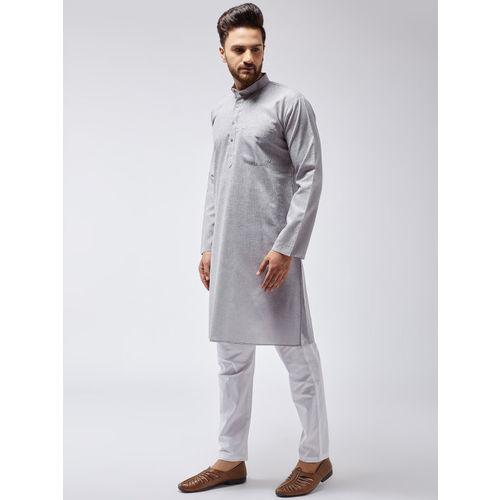 SOJANYA Men Grey & White Solid Kurta with Pyjamas