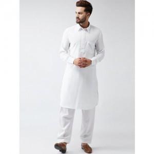 SOJANYA Men White & White Solid Kurta with Salwar