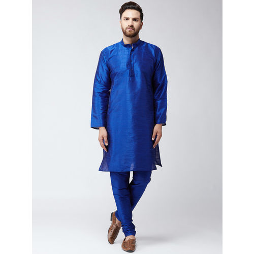 SOJANYA Men Blue & Blue Solid Kurta with Churidar
