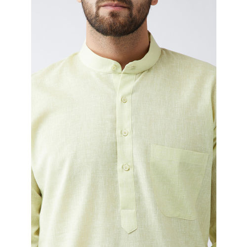 SOJANYA Men Lime Green & Off-White Solid Kurta with Churidar