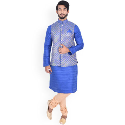 Manyavar Men Blue Self Design Kurta with Churidar & Nehru Jacket
