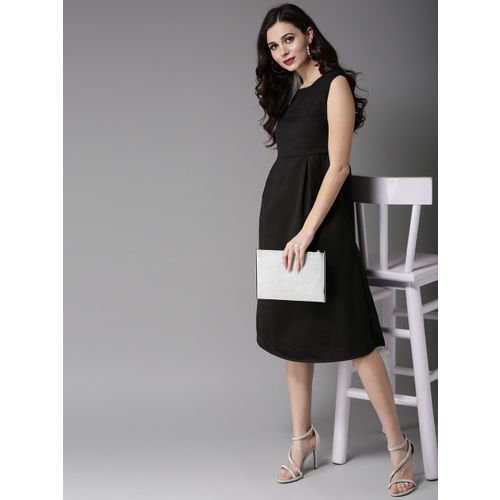 Moda Rapido Women Black Solid Fit and Flare Dress