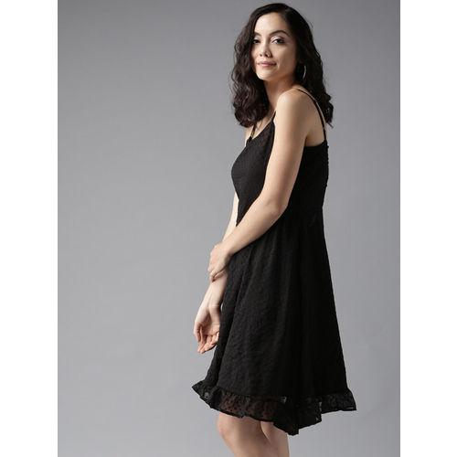 Moda Rapido Women Black Self Design A-Line Dress