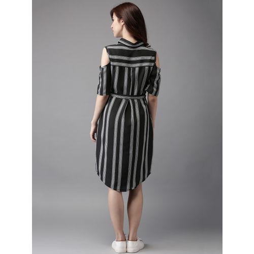 Moda Rapido Women Black Striped Shirt Dress
