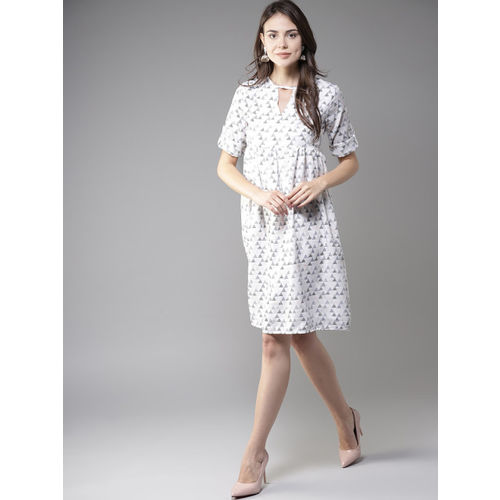 Moda Rapido Women White Printed Empire Dress