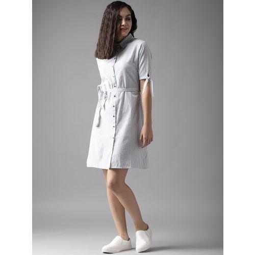 Moda Rapido White & Blue Striped Shirt Dress