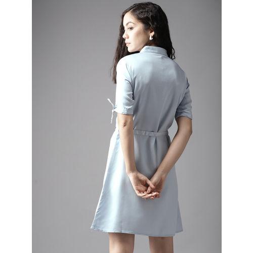 Moda Rapido Blue Cotton Solid Shirt Dress