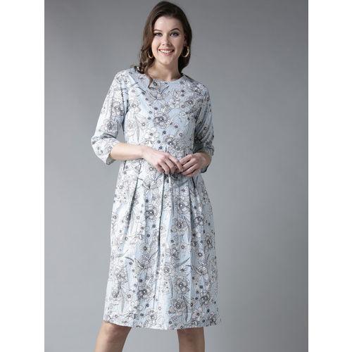 Moda Rapido Women Blue Striped Fit and Flare Dress