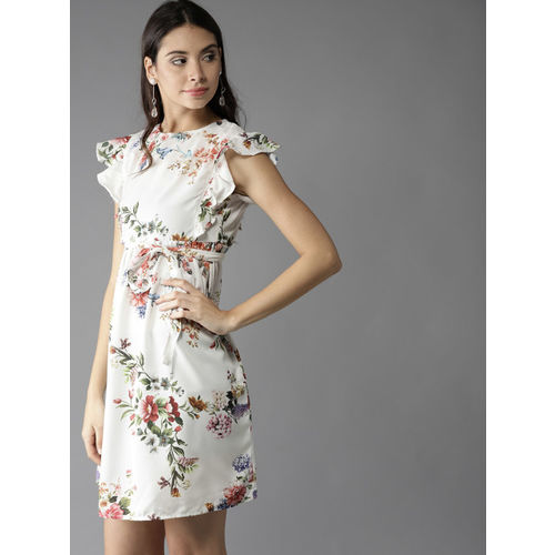 Moda Rapido Off-White Printed A-Line Dress