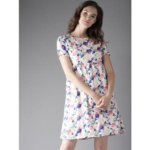 Moda Rapido Women Off-White Floral Print Empire Dress