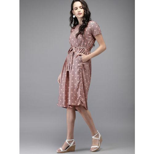Moda Rapido Women Peach-Coloured & Navy Striped Fit & Flare Dress