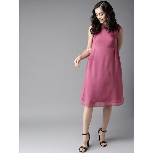 Moda Rapido Women Pink Solid A-Line Dress