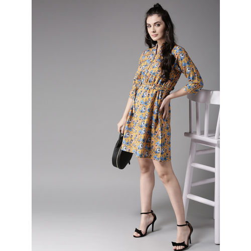 Moda Rapido Women Yellow Printed Fit and Flare Dress