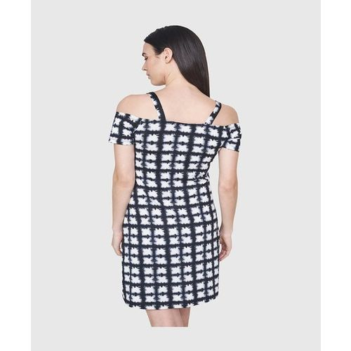 AND White & Black Printed Above Knee Dress