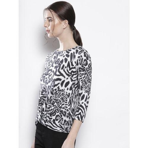 DOROTHY PERKINS Women White & Black Animal Print Top