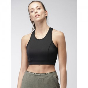 Kappa Black Solid Non-Wired Lightly Padded Sports Bra KPAW18- SB856