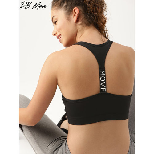 DressBerry Move Black Solid Non-Wired Heavily Padded Sports Bra