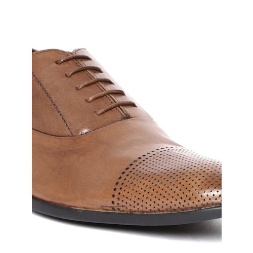 Blackberrys Men Brown Perforated Leather Formal Oxfords