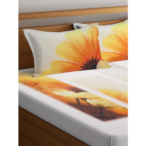 BOMBAY DYEING Grey Abstract Flat 120 TC Cotton 1 King Bedsheet with 2 Pillow Covers