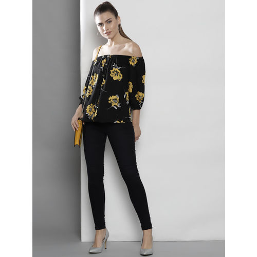 DOROTHY PERKINS Women Black & Yellow Printed Bardot Top