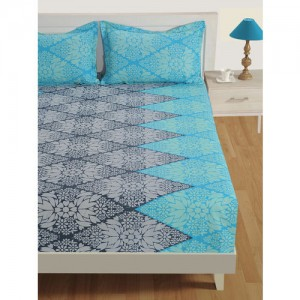 SWAYAM Blue & Navy Blue Floral Flat 144 TC Cotton 1 Extra Large Bedsheet with 2 Pillow Covers