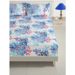 SWAYAM White & Blue Floral Fitted 160 TC Cotton 1 Queen Bedsheet with 2 Pillow Covers