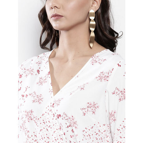 DOROTHY PERKINS Women White & Pink Printed Wrap Top
