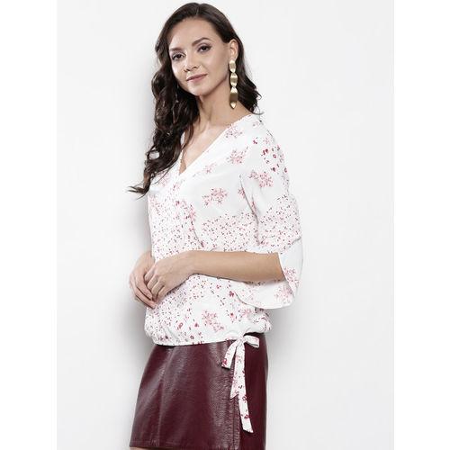 DOROTHY PERKINS Women White & Pink Printed Wrap Top