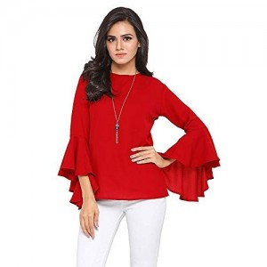Istyle Can Red Crepe Solid Flute Sleeves Top