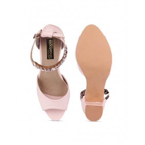 Shoetopia Pink Synthetic Solid Peep Toes