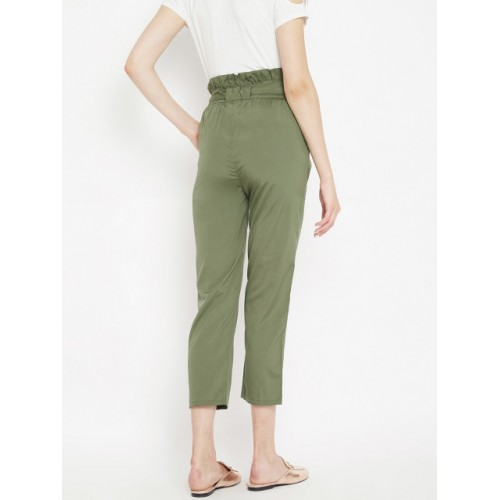 PANIT Olive Green Polyester Regular Fit Solid Cropped Peg Trousers