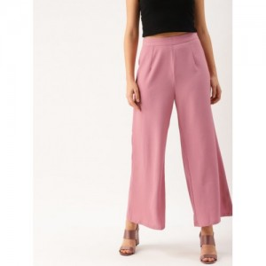DressBerry Pink Polyester Regular Fit Solid Parallel Trousers
