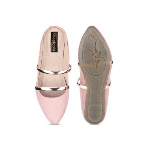 Shoetopia Pink Solid Synthetic Ballerinas
