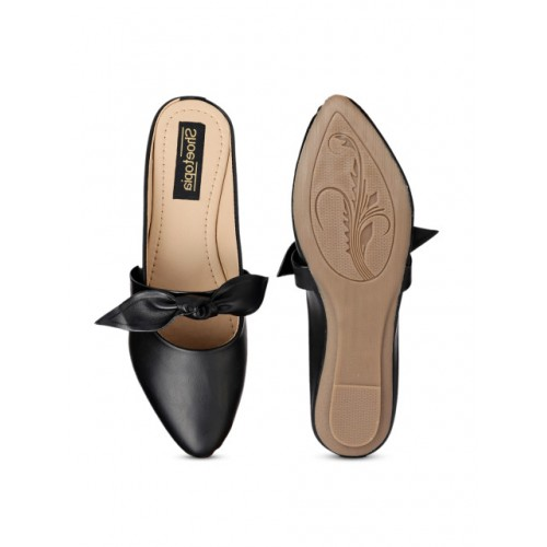 Shoetopia Black Synthetic Solid Round Toe Ballerinas