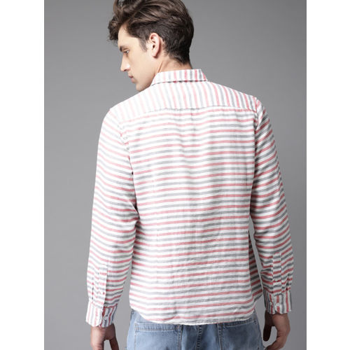 HERE&NOW Men Off-White & Pink Slim Fit Striped Casual Shirt