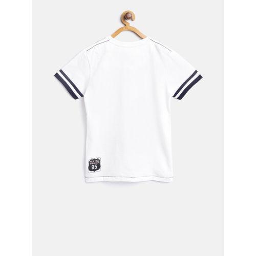 Palm Tree Boys White Printed Round Neck T-shirt