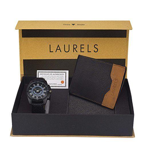 Laurels Analogue Blue Dial Men's Watch & Wallet Combo - Cp-Trs-101-Tsk-0206