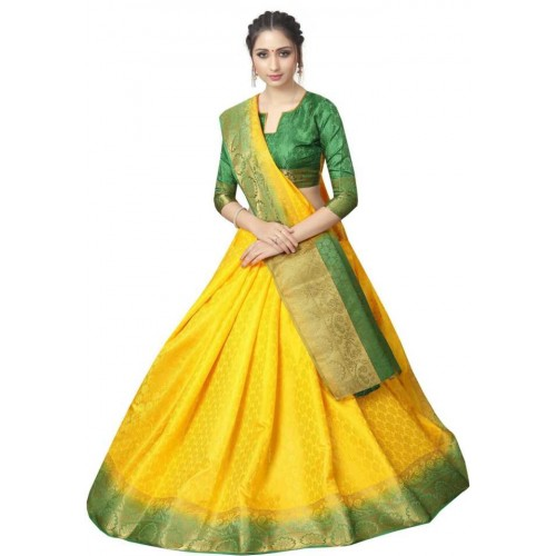Kothari Trend Green & Yellow Cotton Silk Saree With Blosue
