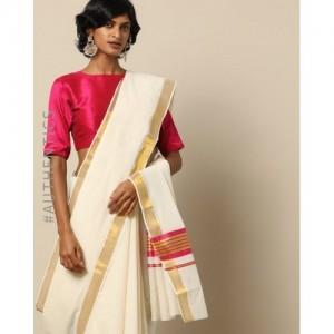 Indie Picks White Anand Kerala Kasavu Cotton Saree with Zari Border