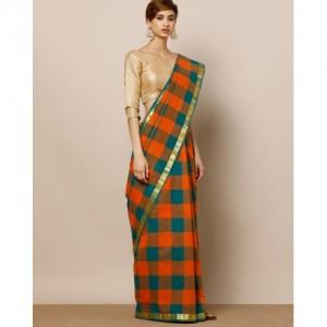 Indie Picks Multi Color South Cotton Chettinad Border Saree With Blosue
