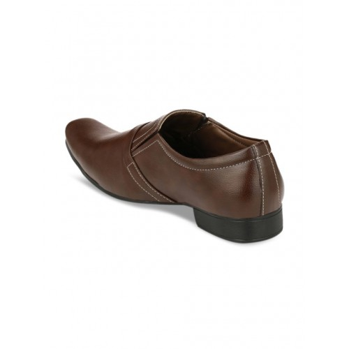John Karsun Brown Synthetic Leather Square Toe Formal Shoes