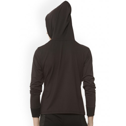 Campus Sutra Black Polyester Solid Hooded Sweatshirt