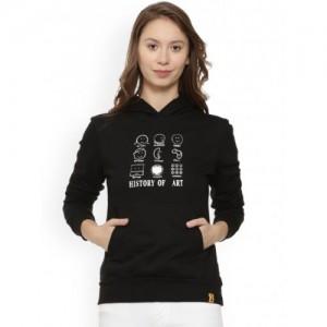 Campus Sutra Black Printed Hooded Pullover Sweatshirt