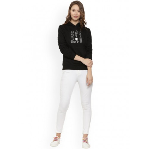 Campus Sutra Black Printed Hooded Pullover Sweatshirt