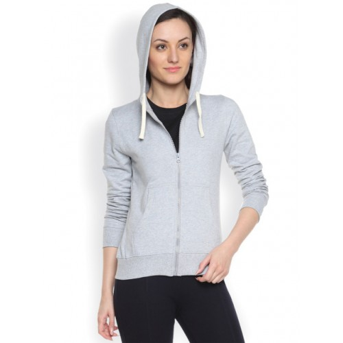 Campus Sutra Grey Cotton Long Sleeves Hooded Sweatshirt