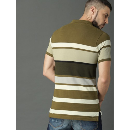 Roadster Olive Green & Cream Cotton Striped Polo Collar T-shirt