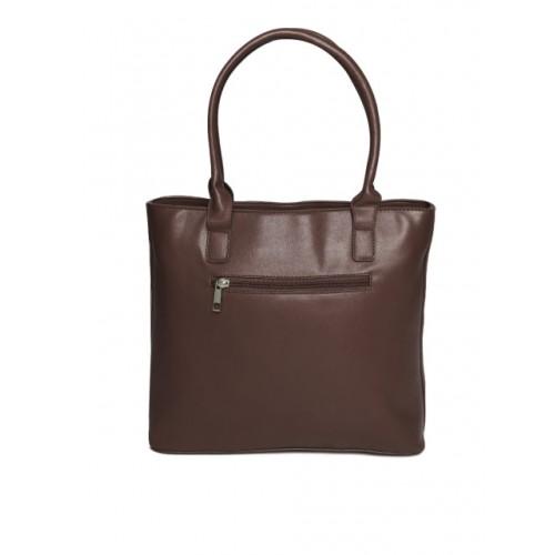 DressBerry Coffee Brown Polyurethane Solid Shoulder Bag