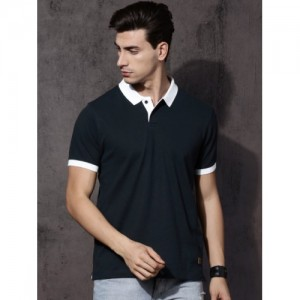 Roadster Navy Solid Polo Collar T-shirt