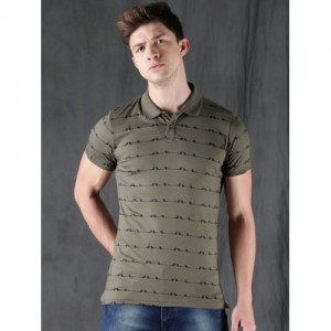 WROGN Olive Green Printed Slim Fit Polo T-shirt