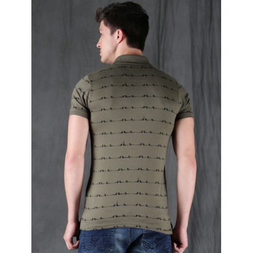 WROGN Olive Green Cotton Printed Slim Fit Polo T-shirt